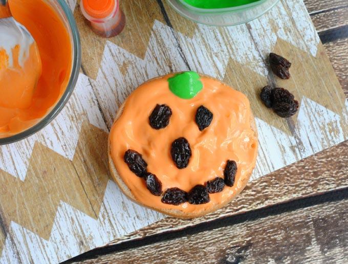 Pumpkin Bagel Halloween Breakfast Idea | The Rebel Chick